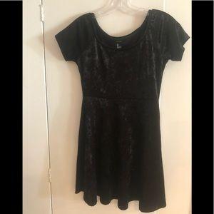 Black Velvet short sleeved Dress, size small